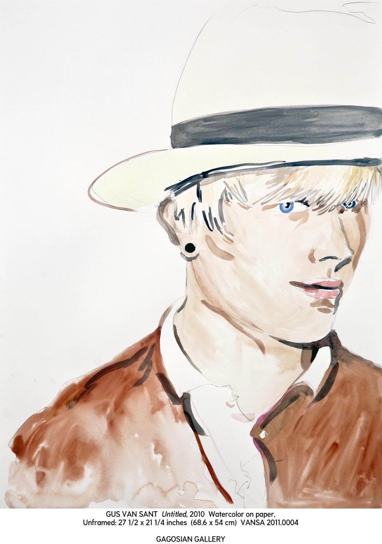 Ґас Ван Сент, Без назви (Чоловік у капелюху), 2011, папір, акварель. © Gus Van Sant. Courtesy of the artist and Gagosian Gallery