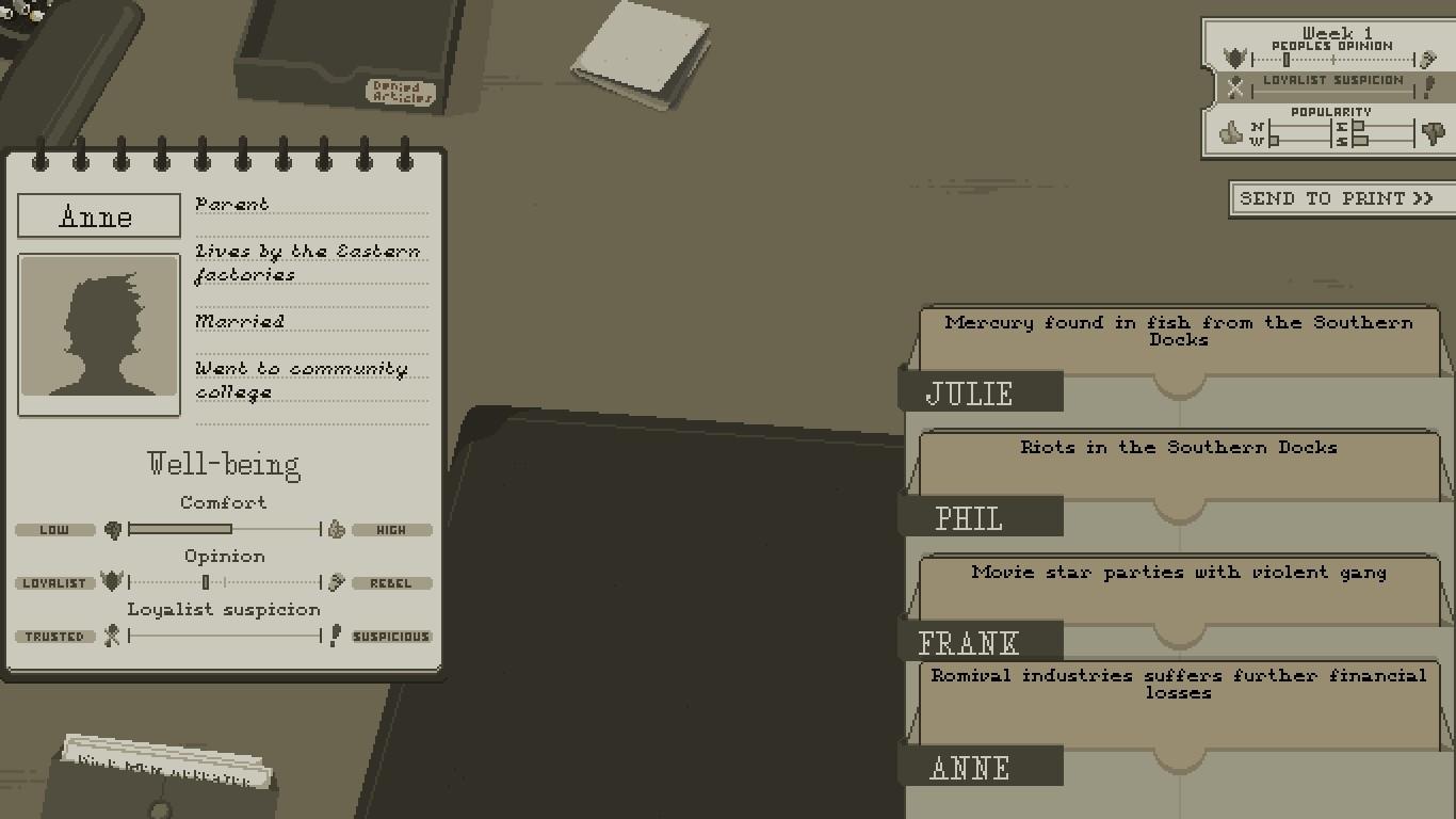 Більша частина гри складається з читання новин